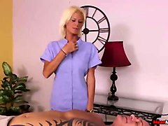 blonde lady dominant handjob