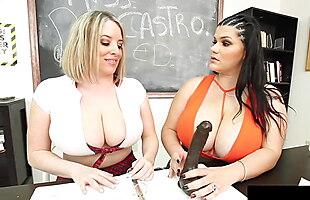 BBW Teacher Angelina Castro & Maggie Green Titty Fuck A Cock