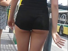 Spying on yg adult tight ass in short shorts waiting for bus