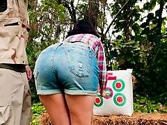 sidney alexis in archery lesson in jungle
