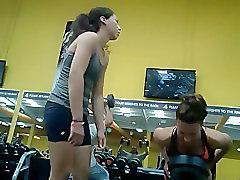 Strong gym girl teaches a hot friend