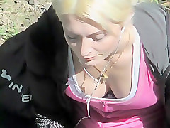 Sweet big boobs of a blond smoker