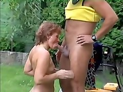 redhead woman is happy and excited to suck cock of her neighbor
