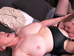 Hairy granny fucks cute daughter