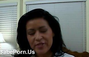 Licking nipples herself