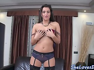 DP loving babe in stockings gets spitroasted