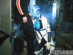 blue alien has to make the dude with her sexy assets