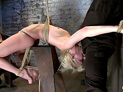 Extremely Bent Backwards, Her Neck Tied So She Can't Move, Her Face Brutally Fucked While Cumming - HogTied