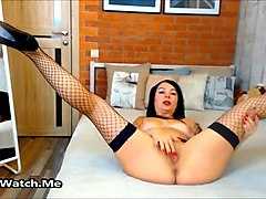 exposed brunette loves to play with her wet pussy