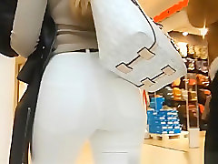 Nice tight ass in tight white jeans pants
