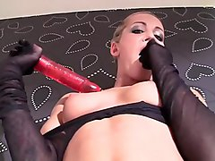 Skinny prague callgirl milf Adele Sunshine jumps into a fishnet and backseamed pantyhose tight, wrinkles her nyloned feet spreads her toes and slowly spit on her har erected nipples before she jerks off her shaved milf pussy with a massive toy