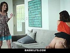 badmilfs- skinny teen has threesome with stepmom