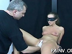 impure slut gets nipple and pussy torture from a domina