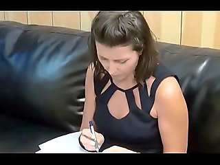 Stepson with a long cock fucks his brunette stepmom