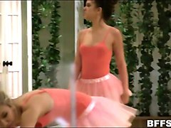 three ballerinas intimate lesbian action