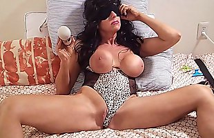 BRUNETTE BOMBSHELL Intense shaking screaming orgasm big cum with hitachi vibrator  HORNY MOM HOME ALONE perfect tits and hard nipples