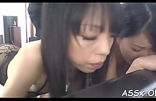 Lively anal drilling for two asian sweethearts