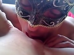 Bald cunt licked and sucked by masked guy