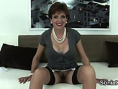 unfaithful british milf lady sonia flashes her huge boobies