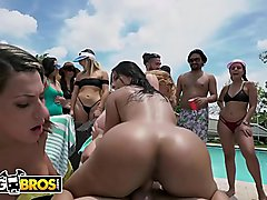 BANGBROS - Fuck Team Five Poolside Orgy With Rose Monroe, Krissy Lynn, and Valentina Jewels