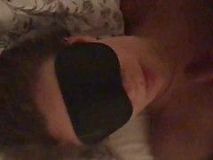 blindfold slut gets cum on her face