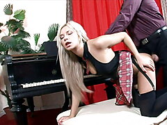 sexy blonde shared by two  businessman