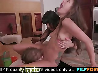 Spicy Latina Stepmom Shares Some Huge Cock With Her Slutty Daughter