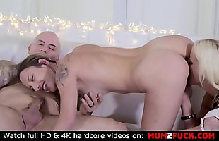 Mom with giant boobs and daughter share one big cock (Alura and Sophia Grace)