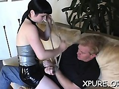 boy gets tied and smothered by ebon babe's huge juggs