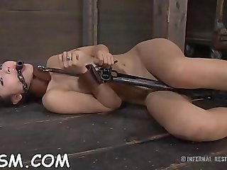 Eastern lady with massive cans and tons of sex tool