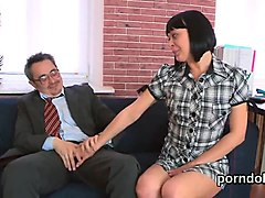 Natural schoolgirl was seduced and poked by her older teacher