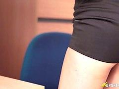 secretary fergie shows off her white panties upskirt
