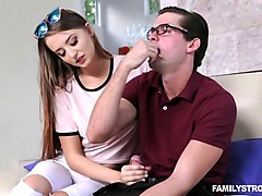 stepsis gets fucked by her nerdy stepbro