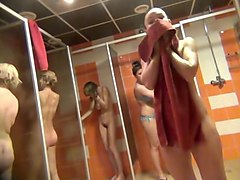 Naked girls and women take a shower