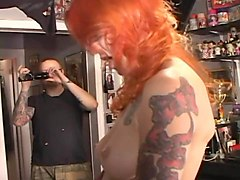 redhead sucks toycock in dirtbar-fucks tiny blonde in bed