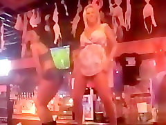 Sex in a noisy bar with a flirty blonde