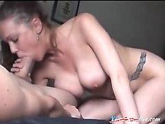 big boobies brunette mouths a huge dong on webcam