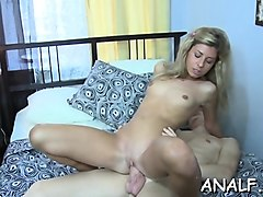 bushy blonde sucks the dick before letting it in her a-hole