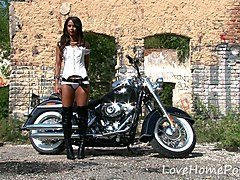 Tanned angel adores getting watched as she strips