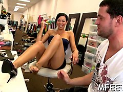 footjob experiments by a brunette