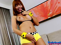 Asian ladyboy masturbates her hard cock