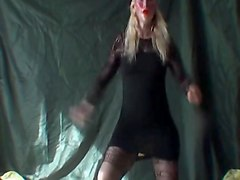 lady in stockings short dress no panties dancing