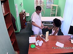 slim ebony patient bangs doctors cock