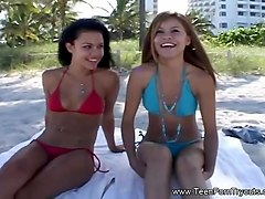two teens double blowjob audition