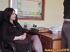office babe instructs her slave during cfnm