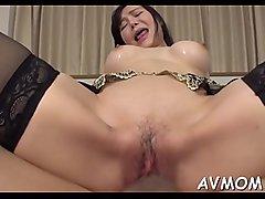 Hawt oriental mom strip tease