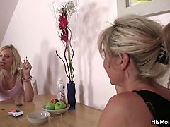 lesbian mom teaching blonde teen toying