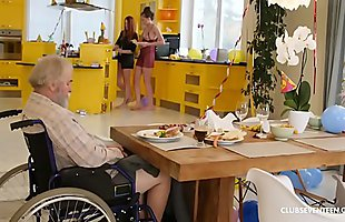 Handicapped grandpa gets blown by teen redhead step niece