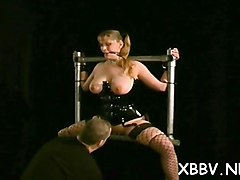 nude woman gets the tits ravished in breast torture show