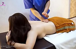 Cute Girl in Red Dress getting intense Massage